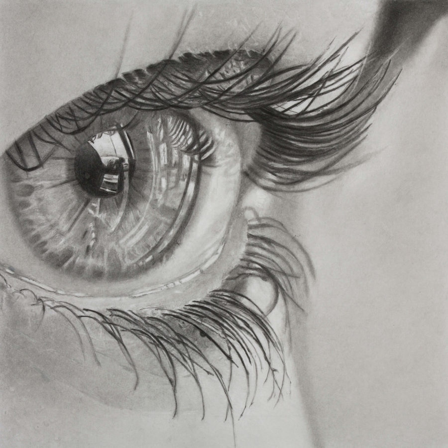 close up of eye, realism pencil drawing